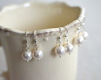 Bridesmaid Gift - 3 Cream or White Round Pearl Earrings in Sterling Silver - choose pearl color