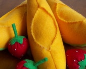 Felt Food Cantaloupe Fruit Eco Friendly Pretend Play Food for Childrens Toy Kitchen - Stuffed with Sustainable Bamboo Fiber