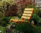 Colorful Orange Cedar Chair for Garden & Patio - storable - handcrafted by Laughing Creek