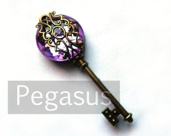 Wisteria Purple Filigree Acrylic Gem Steampunk Skeleton Key (1 Piece)(12 Option Color) Jewelry pendant for scrapbook,costume,wedding,favors