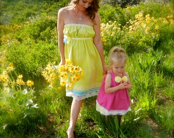 """LaDies StrapleSs Hand Dyed Vintage Lace SundreSs Mommy and Me Collection """"Heidi"""""""