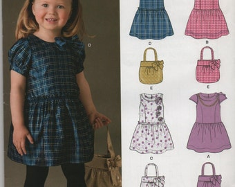 New Look Sewing Pattern Toddler Girls Dress and Purse Simplicity 6017