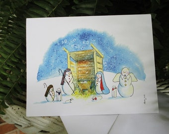 """Snowman Nativity Note Cards - """"Silent Night"""""""