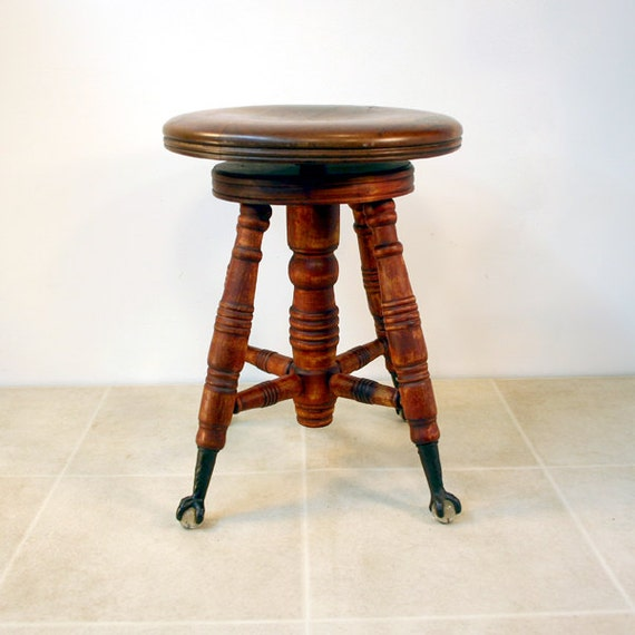 Antique Piano Stool With Glass Ball And Claw Feet