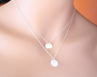 THREE Initial discs on Double necklaces - Sterling Silver, engraved necklace,Valentine,for her, birthday gifts, mother's mom daughter sister
