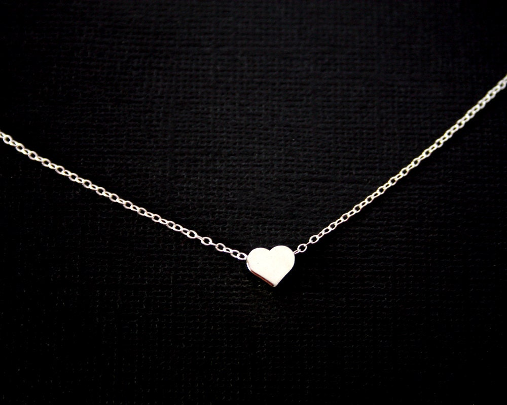 Initial Single Heart Necklace Sterling Silver Gold Filled