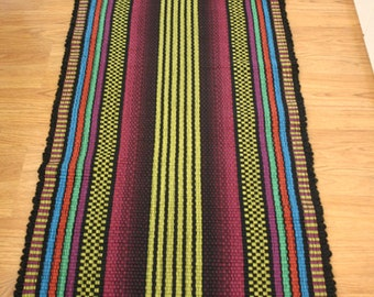 SALE Rag  Rug Runner / Bright Lime Green and Magenta /  2 x 6 - price marked is 30% off