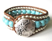 Silver Lining - Rustic Country -  Cuff Bracelet - Beaded Leather Wrap Bracelet