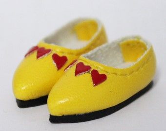 Yellow Love Heart Casual Shoes for BJD Dolls Lati Yellow, PukiFee, Riley Kish, Bobobie Nissa, DIM Silf, Dollk S00064C