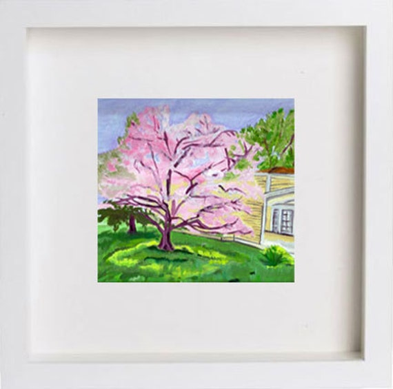 "Pink Tree. Oil Painting Print on Canvas Paper. 8"" x 8"". Housewarming Gift. Nursery. Spring Art."