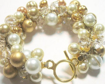 Brush Antique  Gold Satin, Ivory, White, Chunky  Hand Knit Beaded Bridal Wedding Bracelet, Bridal Party, Bridesmaids, Sereba Designs