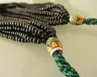 Multi stranded black beaded necklace