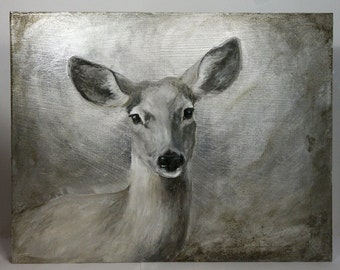 Mule Deer portrait oil painting