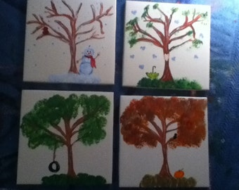 A tree for all seasons coaster set