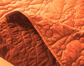 cotton bedspread amber orange pebbles King quilted bedspread ,bedding coverlet embroidery pattern contemporary quilt modern bedspread
