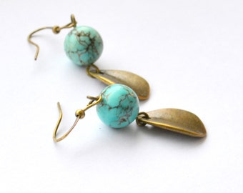 Turquoise and brass leaves dangle earrings