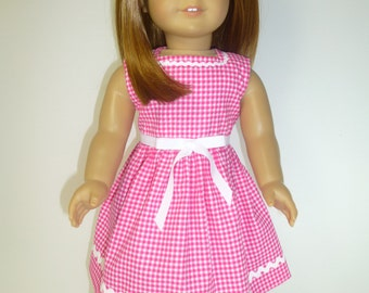 Rose Pink and White Dress, Rick Rack, Ribbon, 18 Inch Doll Dress, Girl Toys, Gift for Girls, Doll Clothes, Gingham Checks, Summer Dress