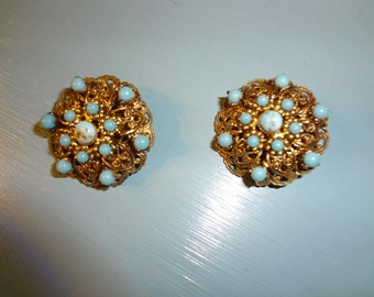 Vintage Turquoise Clip Earrings from Germany