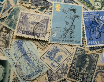 50 Blue PostageStamps, Used Postage Stamps, Vintage Postage Stamps, Blue, World Wide