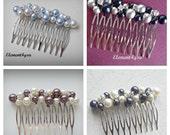 Bridal comb, Wedding hair comb, Pearl rhinestone fascinator, Navy blue grey pearl mix, Bridesmaid accessories, Beaded pearl silver comb
