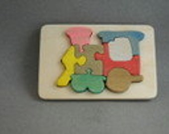 Childrens wood Train Puzzle on a tray