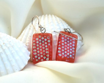 Peach and gold dot dichroic glass dangle fused glass earrings, Dichroic Dangles, Art Glass Earrings on Sterling