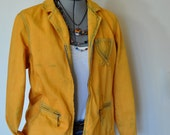Denim Blazer JACKET - Gold Ochre Hand Dyed Upcycled Relativity Denim Jacket - Womens Size Medium (40 chest) - DavidsonStudio