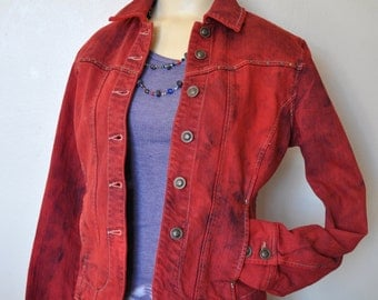 """Red Small Denim Jacket- Scarlet Red Hand Dyed Upcycled Live a Little Denim Trucker Jacket - Adult Womens Small PP (36"""" chest)"""