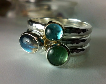 Mixed Metal Swiss Blue Topaz Ring In 14k Gold And Sterling Silver Stackable