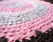 rag rug - round recycled pink and brown crochet