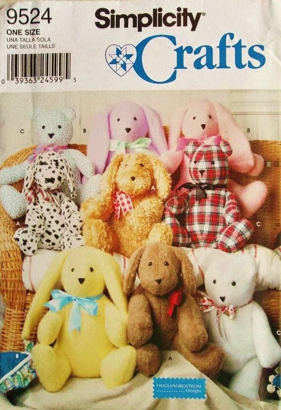 Easy Stuffed Animals Pattern, 2 Piece Stuffed Animals Pattern, Very Easy Sewing Pattern, Simplicity 9524, sewing pattern