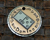 Custom Dog or Cat Domino ID Tag, Small Pet Collar ID Tag, Personalized ID Tag