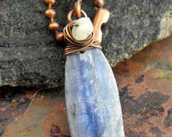 Kyanite Rain, Blue Kynite, Copper, and Moonstone necklace, ThePurpleLilyDesigns