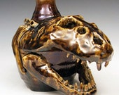 T Rex Tyrannosaurus Face Jug Sculpture - Folk Art by Kate