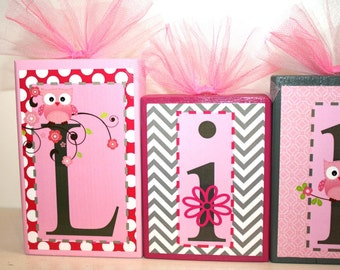 Lilah Collection Personalized Blocks - Owls and Flowers Name Blocks - Pink and Grey
