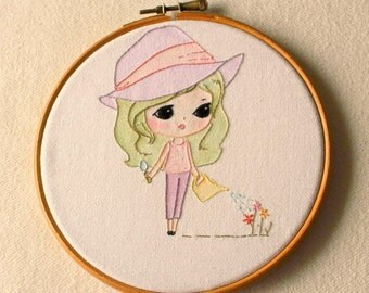 Garden Girl pdf Embroidery Pattern - Instant Download