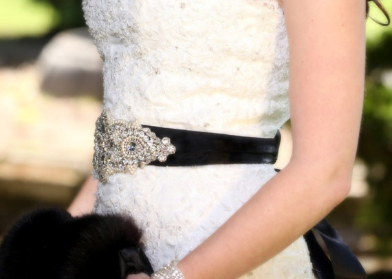 Fiona Wedding Bridal Beaded Crystal Embellished Belt Sash