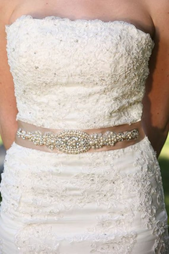 Valentina Wedding Dress Gown Crystal Embellishment Brooch Sash Beaded Belt with Ivory Pearls