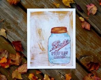 SALE - Perfect Mason Single Jar Foodie Print 8x10