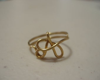 Adjustable Initial Wire Ring Letter A