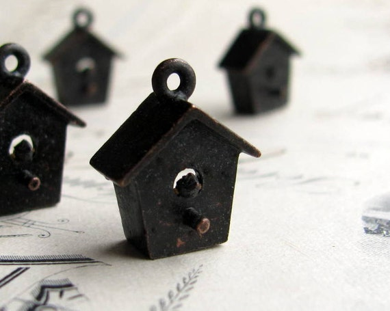 Bird house charm from Bad Girl Castings, 17mm, antiqued dark pewter (2 charms) ornithology, backyard life, gardening, garden, home CH-SC-035