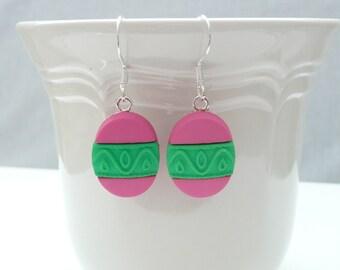 Hot Pink and Green Easter Egg Dangle Earrings