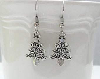 hd-Silver Christmas Tree Dangle Earrings