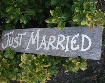Just Married Rustic Western Bridal Wedding Sign Gray Barn Wood Photo Prop