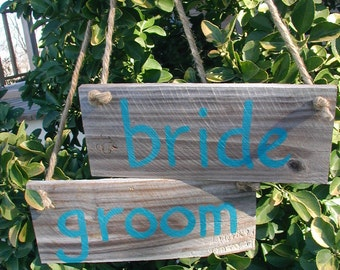 Ready to Ship Bride and Groom Western Rustic Beach Wedding Turquoise Sign Bridal Barn Wood Chair Hangers