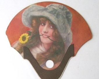 vintage art nouveau paper hand fan advertisement ad retro decorative home decor collectible orange blue yellow woman hand sunflower flower