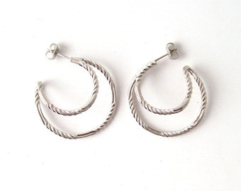 vintage silver hoop earrings posts sarah coventry fashion jewelry accessories accessory womens ladies retro modern