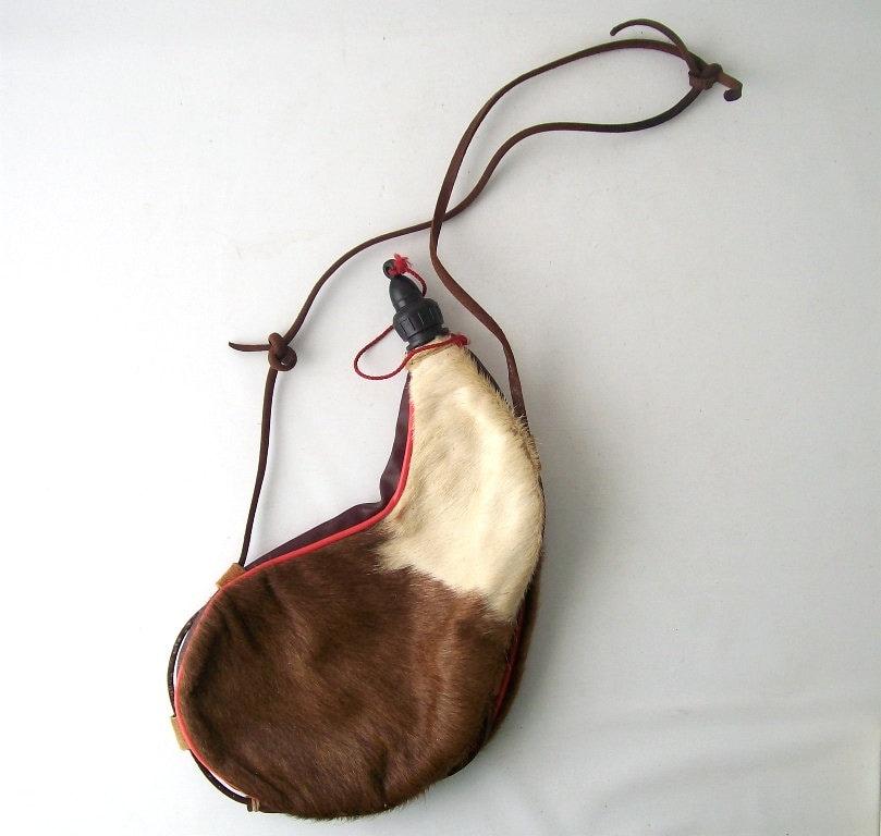 Vintage Water Bag Flask Leather Deer Skin Fur Bladder Rustic