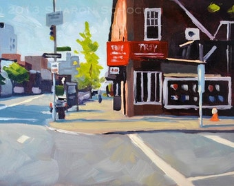 NYC Oil Painting - Manhattan Corner - 5x7 New York City painting by Sharon Schock