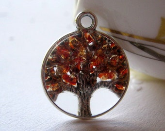 Garnet Glass Necklace, Tree of Life, Tree of Life Jewelry, January Birthstone Color, Garnet Tree Necklace